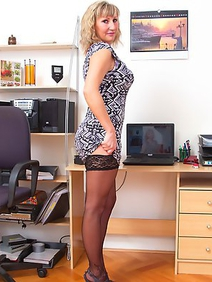 blonde women; housewives; solo; stockings;