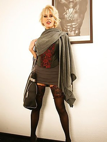 blonde women; busty; milf; solo; stockings;