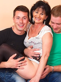 group sex; old and young; stockings; threesome;
