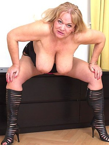 blonde women; busty; masturbation; monster tits; shaved pussy; toys;