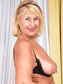 blonde women; busty; shaved pussy; solo; stockings;