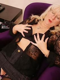 blonde women; masturbation; shaved pussy; solo; stockings;