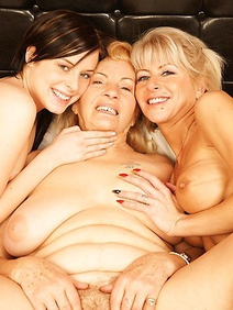 blonde women; brunette; lesbians; old and young; threesome;
