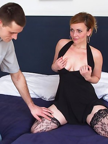 blowjob; couple; fucking; hardcore; milf; old and young; pussy licking; redhead; shaved pussy; stockings;