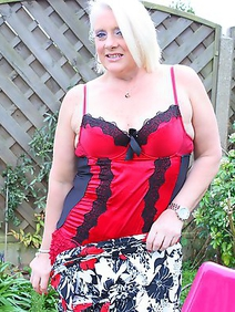blonde women; british women; housewives; outdoors; solo; stockings;