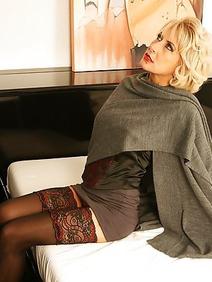 blonde women; busty; milf; solo; stockings;