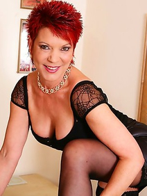 lingerie; redhead; solo; stockings;