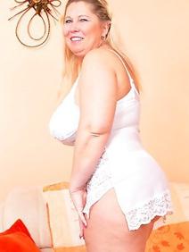 blonde women; busty; chubby; lingerie; solo;