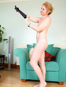 british women; housewives; lingerie; redhead; slim; solo; stockings;