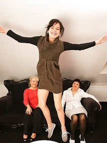 group sex; lesbians; old and young; stockings; threesome;