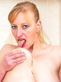 blonde women; busty; housewives; kitchen; masturbation; solo; toys;