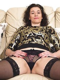 british women; brunette; housewives; slim; stockings;