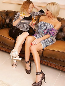 blonde women; group sex; lesbians; old and young;
