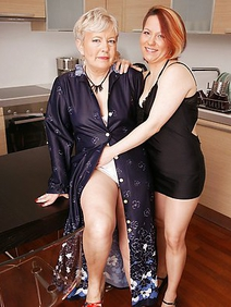 blonde women; couple; housewives; lesbians; redhead; stockings;
