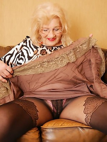 blonde women; grannies; pantyhose; solo;