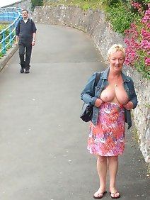 busty; chubby; flashing; outdoors; public; small tits;