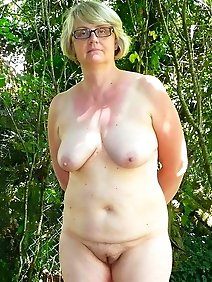 busty; chubby; nude; outdoors; public;