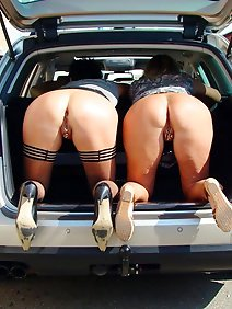 busty; car; chubby; outdoors; public;